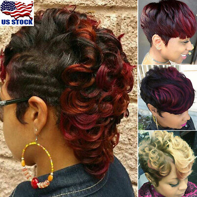 Womens Ombre Black Wine Red Blonde Wigs Short Wavy Curly Synthetic Hair Wigs US (Curly Red Wigs)