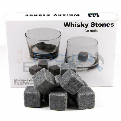 9pcs Whiskey Mother's ruin = 'gin' Scotch Soapstone Cold Glacier Stone Ice Cubes Rocks w/ Bag