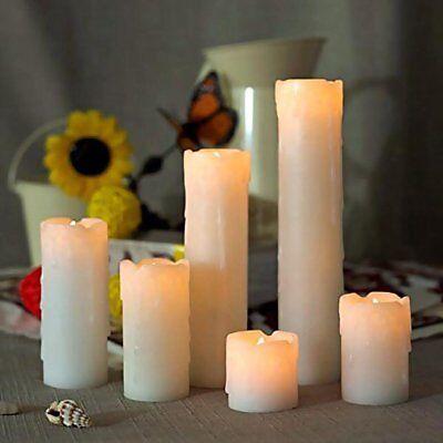 6 FLICKERING FLAMELESS LED PILLAR CANDLES Realistic Home Decor Timer Light 2-9' - Flameless Led Lights
