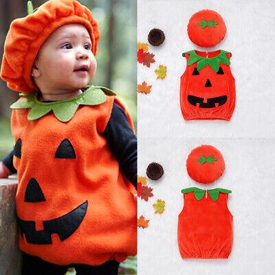 geborene Baby Boy Party Kürbis Kostüm Stoff Weste + Hut Outfits (Halloween Baby Kostüme)