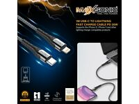 Fast charging braided 30w USB-C to Lightning iPhone 12 11 / iPad Sync cable Maxsonic 1 Year Warranty