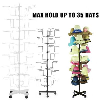 7 Tier Metal Hat Cap Rack Hanger Display Stand Rotating With 4 Wheel Whiteblack