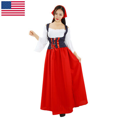 Women Vintage Sexy Red Maid Dress Oktoberfest Off Shoulder Tube Top Long Skirt (Vintage Maid Costume)