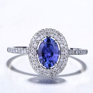AAA CERTIFIED Blue Violet Tanzanite Halo Diamonds Ring Solid 14K White gold