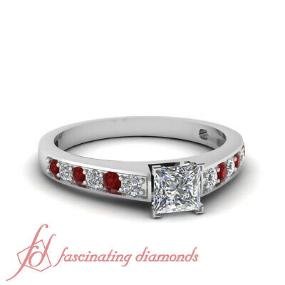.70 Ct Princess Cut Cheap Diamond Rings With Pave Set Round And Ruby Accents GIA