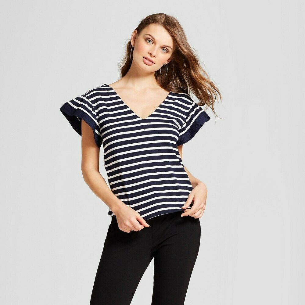 Women's Striped Ruffle Sleeve T-Shirt – A New Day Navy/White (Blue/White) M Clothing, Shoes & Accessories