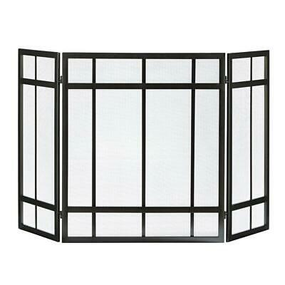 3-Panel Fireplace Screen Black Mission Style Hearth Cover Metal Steel Wenge Fire 3 Panel Mission Fireplace Screen