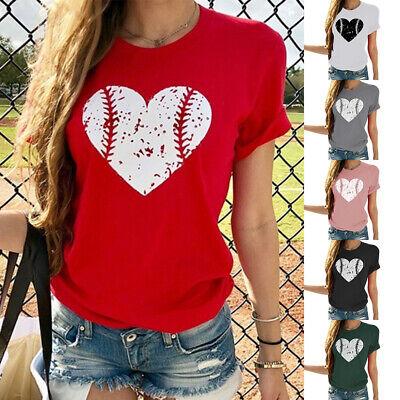 Baseball Womens Fitted T-shirt (2019 Women Love-Heart Baseball Printed T-Shirt Round Neck Short Sleeve Tee Tops )