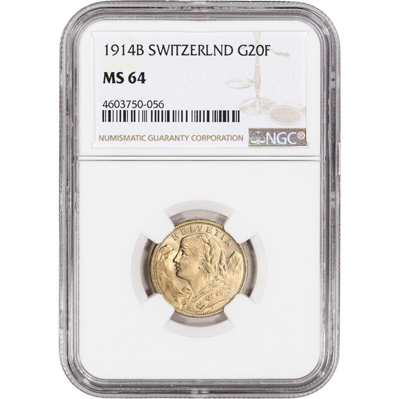 1914 B Switzerland Gold 20 Francs - NGC MS64