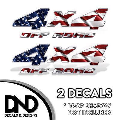 4x4 Off Road Decals 2 Pk Sticker for Silverado Sierra truck - American Flag D&