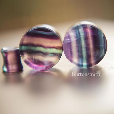 Pair of Concave Rainbow Fluorite Stone Plugs Double Flared  - 10mm to 25mm