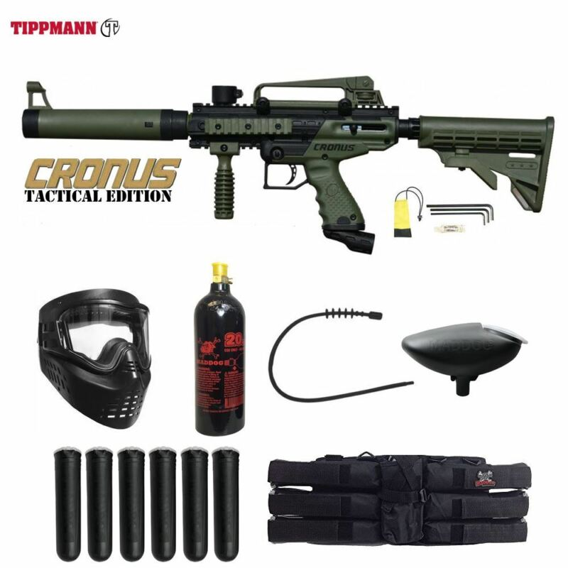 Tippmann Maddog Cronus Tactical Titanium Paintball Gun Package Olive