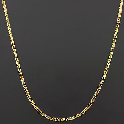 10K Yellow Gold 22 Inch 2Mm Interlink  Love  Chain Necklace Free Shipping