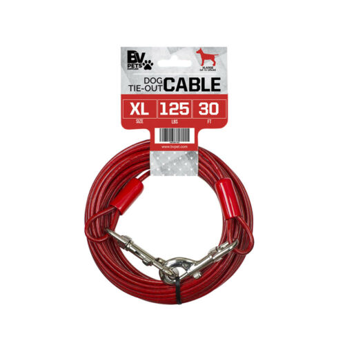 BV Pet Heavy Extra-Large Tie Out Cable for dogs up to 125 LBS 30-Feet TC-30FT-RD