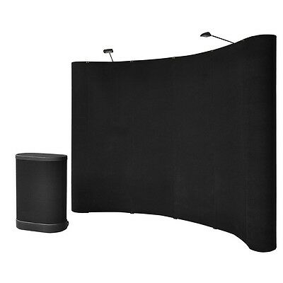 10' Deluxe Black Display Trade Show Booth Podium Counter Pop Up Kit W/Spotlights