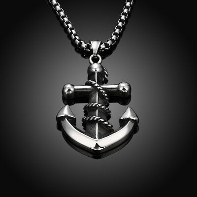 Men's Boy's Stainless Steel Pendant Chain Silver Tone Anchor Necklace Jewelry