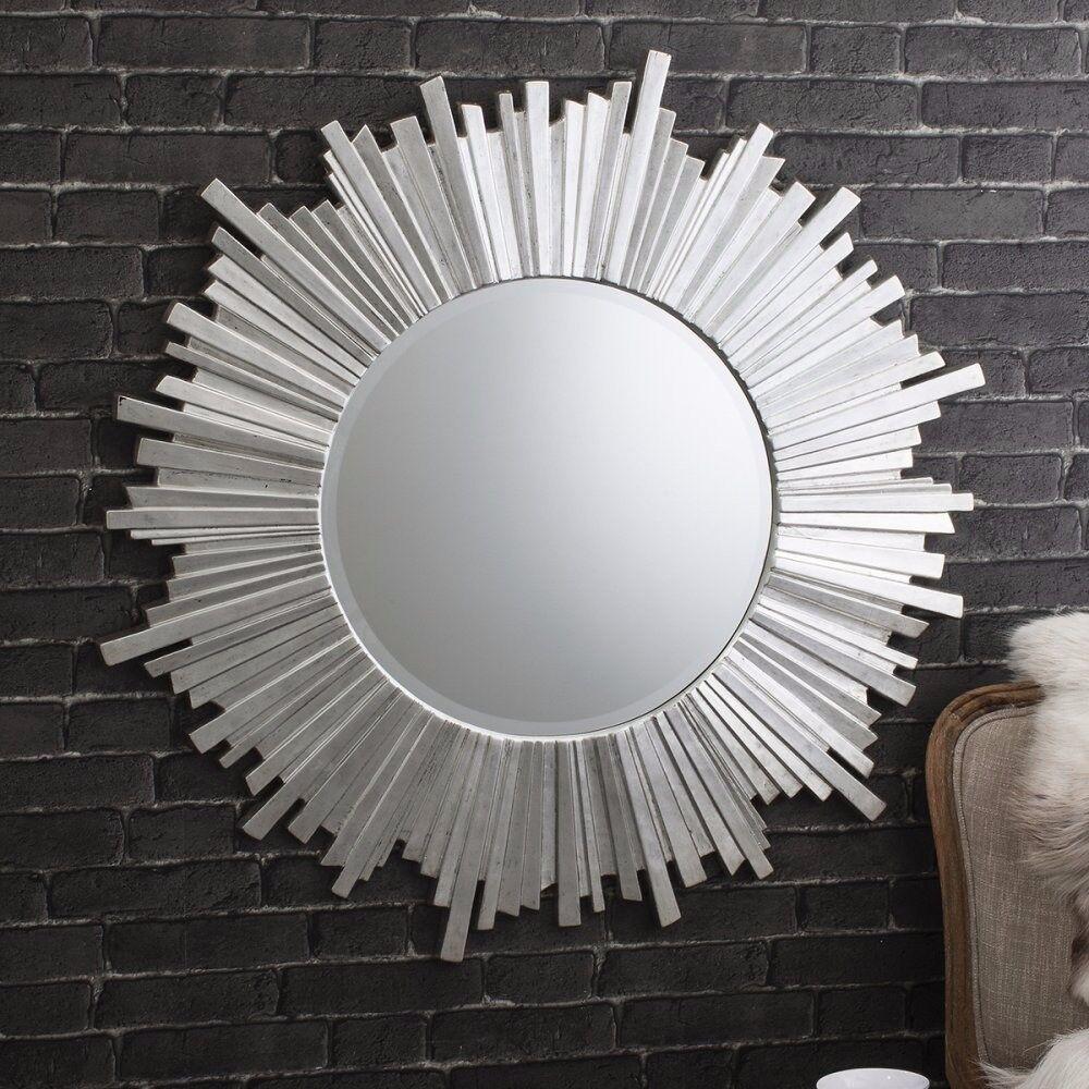 """1 x Herzfeld Starburst Round Silver Mirror 39.5"""" by Gallery Direct"""