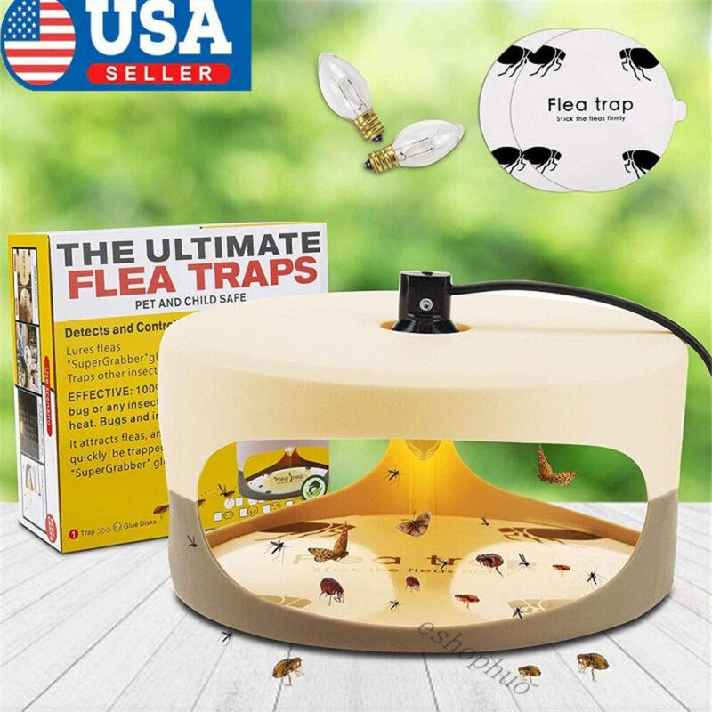 Electric Flea Trap Killer Home Pest Control Sticky Discs Spare Lamp Notoxic Safe