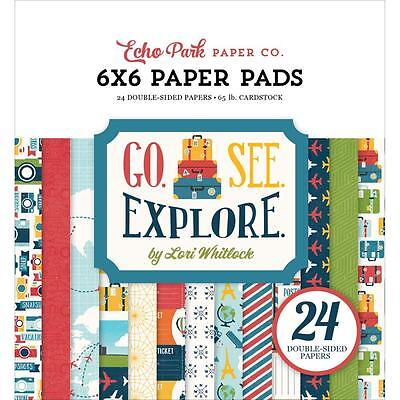 Scrapbooking Crafts Cb 6X6 Paper Pad Go See Explore Travel Vacation Planes Bags