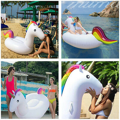 Giant Inflatable Rainbow Unicorn Water Float Swimming Pool Lounger Beach Fun