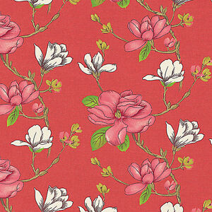 Cotton-Slub-Curtain-Upholstery-Fabric-Antique-Oriental-Japaness-Chic-Floral-Red