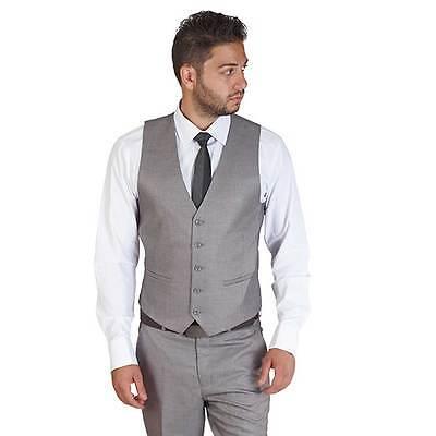 Silver Grey Dress Suit Vest 5 Button V Neck Adjustable Back Strap Formal AZAR
