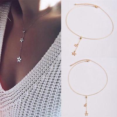 Fashion Women Simple Necklace Jewelry Long Pendant Gold Star Choker Chain Boho](Gold Star Jewelry)