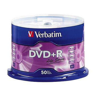50 Verbatim Life Series Dvd R 16X Branded Logo 4 7Gb Media Disc Spindle 97174