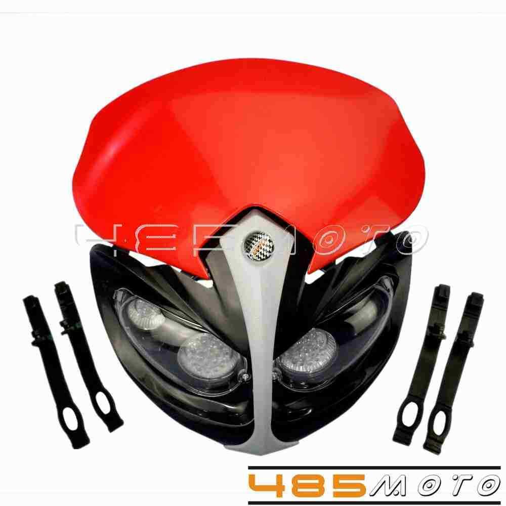 Motocross Dirt Bike LED Headlight Lamp Fairing For Honda