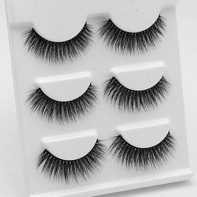 3 Pairs Real Mink Natural False Eyelashes Short Thick 3D Fake Eye Lashes Makeup