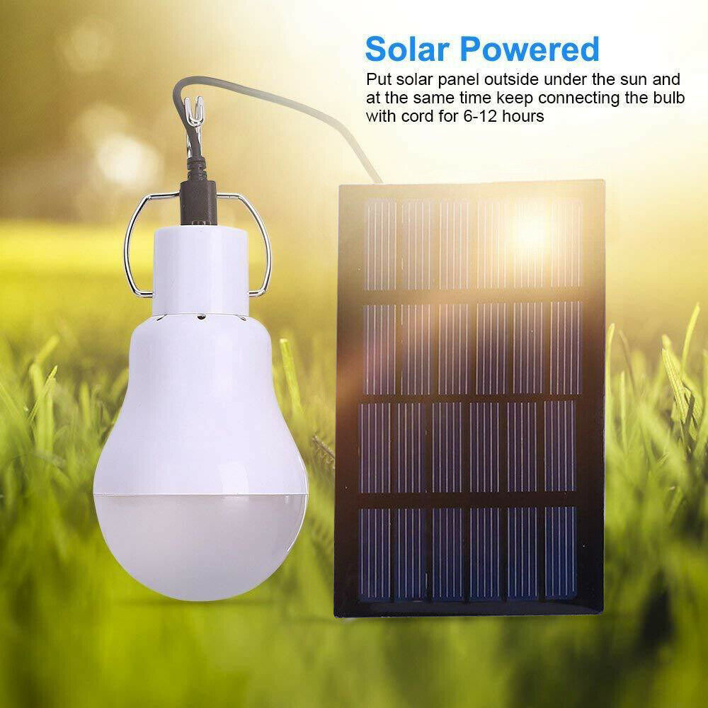 15W LED Solar Lampe Glühbirne Solarleuchte Campinglampe Außen-Beleuchtung Garten