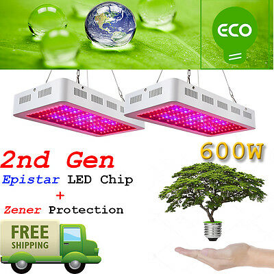 2Pcs 2Nd Gen 600W Led Grow Lights Full Spectrum Lamp Panel Plant Light