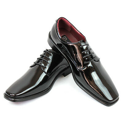 - New Mens Dress Tuxedo Shoes Black Round Toe Patent Leather Shiny Lace Up Parrazo