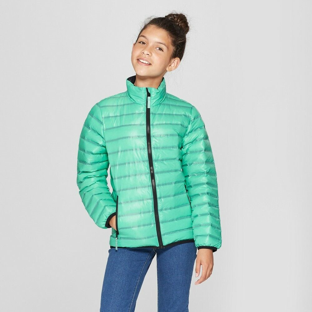 NEW Cat & Jack Girls' Down Puffer Jacket – Aqua Green – XS 4 5 Clothing, Shoes & Accessories