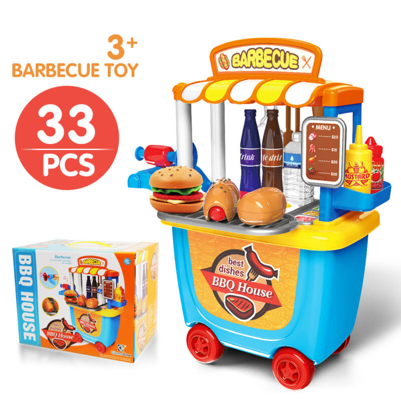 PRETEND PLAY KITCHEN SET Toys BBQ Grill For Kid Toddler Chil