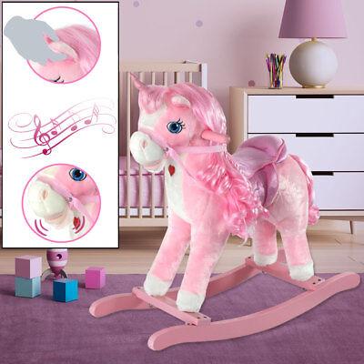 Holz Plüsch Schaukelpferd Einhorn Kinderzimmer Schaukel Mädchen Spielzeug rosa