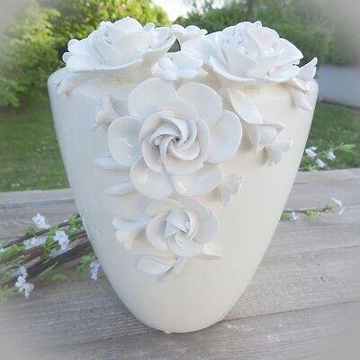 Moderne Blüte (Vase weiß 3D Blüten - Blumenvase Tischdekoration Tischvase Dekoration Hochzeit)