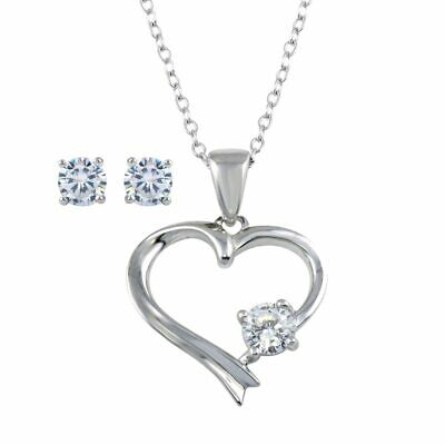 Womens Real 925 Sterling Silver Heart Pendant Necklace Earring Set 925 Silver Earrings Pendant