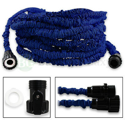 100 Feet 100FT Expandable Flexible Garden Lawn Water Hose Nozzle Blue 300+SOLD