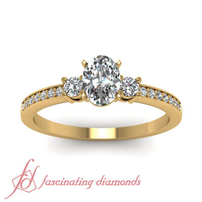 GIA Certified Oval Shaped VS1 Diamond Trinity Engagement Ring Pave Set 0.65 Ct 1