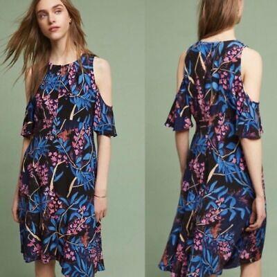 Anthropologie Maeve Sz 10 Elia Open Shoulder Midi A Line Floral Dress Romantic