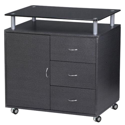 Rolling Heavy Duty File Cabinet 4 Drawer Office Furniture: 3-Drawer 1-Door Mobile Rolling File Cabinet Black Office