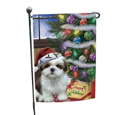 Christmas Happy Holidays Shih Tzu Dog with Tree Presents Garden Flag GFLG53924