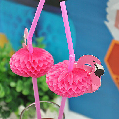 10 Pcs 3D Flamingo Straw Bendy Pink Drinking Wedding Pool Party Favors Supply