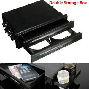 Double Din Dash Radio Installation Pocket Cup Holder Storage Box For Car Vehicle