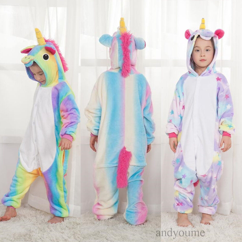 einhorn pyjamas kost m jumpsuit tier schlafanzug kinder unisex fasching geschenk ebay. Black Bedroom Furniture Sets. Home Design Ideas