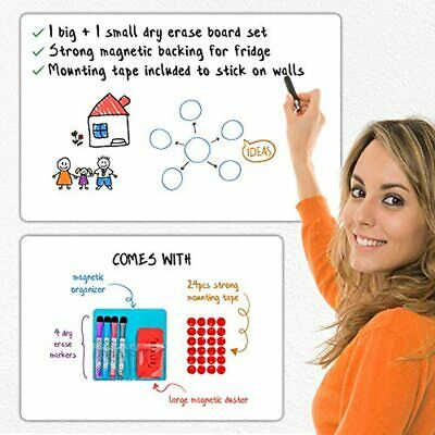 Magnetic Dry Erase White Board Set 2 Large Amp Small Boards For Wall Mounting
