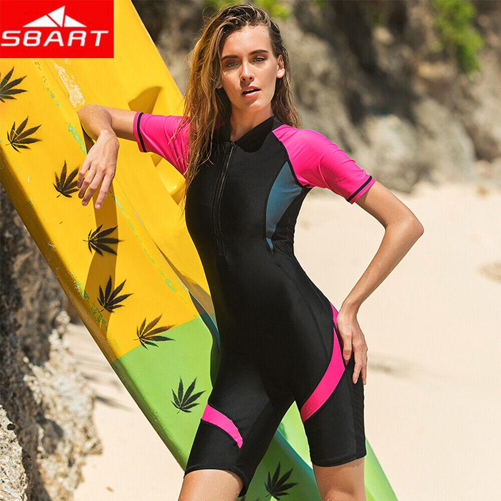 SBART Zipper Rash Guard 2019 Women One-Piece Swimsuit Women