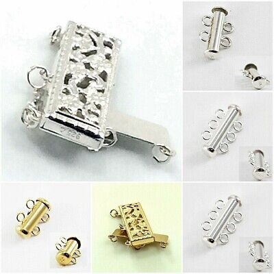 925 Sterling Silver 14K Gold filled Tube Clasp multi strands Jewelry USA Finding