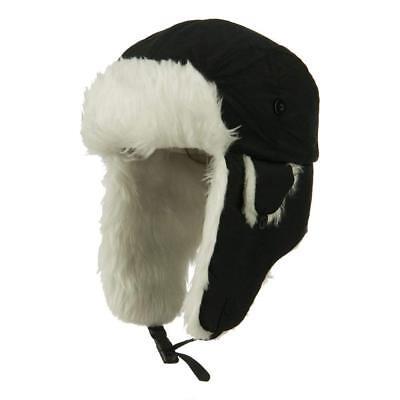 Black Aviator Hat (Black Aviator Bomber Faux Fur Winter Ski Trooper Trapper Ear Flap Hat Cap)